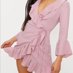 Pink frill tea dress